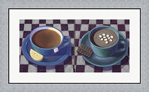 Caffeine Cups 1 by Debra Ozello Framed Art Print Wall Picture, Flat Silver Frame, 33 x 20 inches