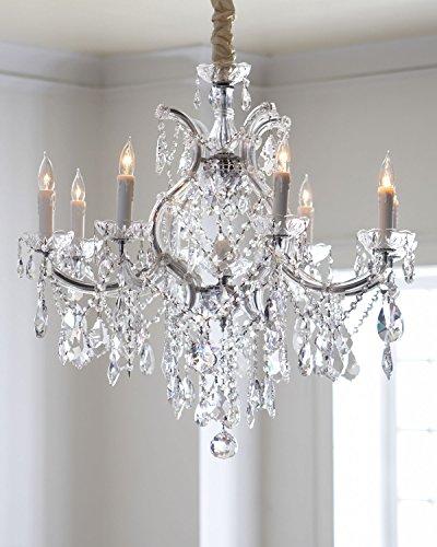 Saint Mossi Modern K9 Crystal Raindrop Chandelier Lighting Flush Mount LED Ceiling Light Fixture Pendant Lamp for Dining Room Bathroom Bedroom Livingroom 8 E12 LED Bulbs Required Height 28 x ()