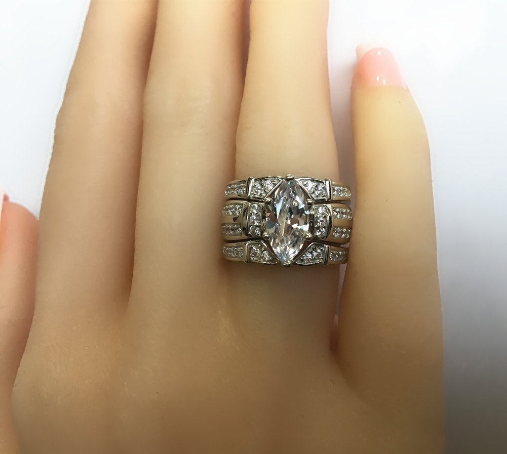 MABELLA Trio Sterling Silver Cubic Zirconia CZ Marquise Wedding Ring Set for Women by MABELLA (Image #7)