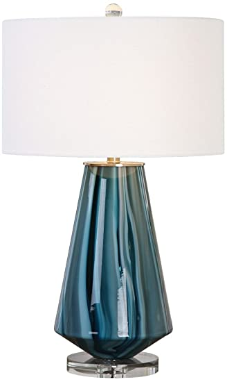 Uttermost 27225 1 pescara one light table lamp blue ivory brushed nickel