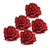 DRESHOW 5 Pack Flower Brooch Floral Hair Clips for Women Rose Hair Accessories Wedding (Red 5)