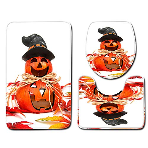 Halloween Decor Package Clearance KIKOY Toilet Seat Cover and Rug Bathroom Set 3Pcs