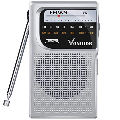 AM FM Battery Operated Portable Pocket Radio - Best Reception and Longest Lasting. AM FM Compact Transistor Radios Player Operated by 2 AA Battery, Mono Headphone Socket, by Vondior (Silver) (Best Battery Powered Portable Radio)