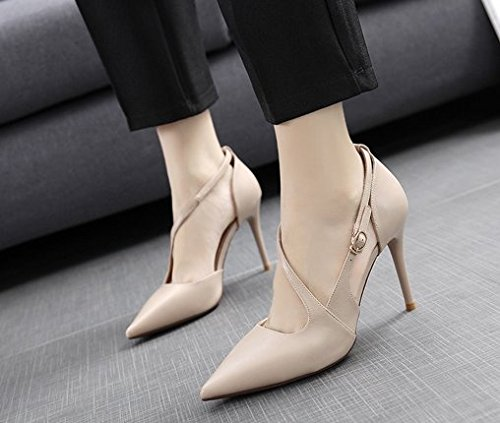 Fashion Apricot 9Cm Fine A MDRW Elegant Shoes Lady Leisure Buckle Shoes High Shallow Work A 38 Spring Mouth Heels With 8Sa8qU