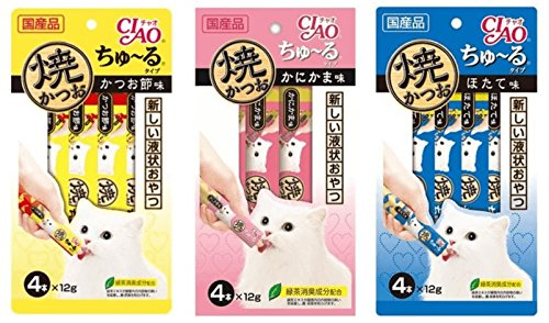CIAO Cat lick snacks Grilled tuna New flavored 3 Mix flavors Raise pack (3 pack).