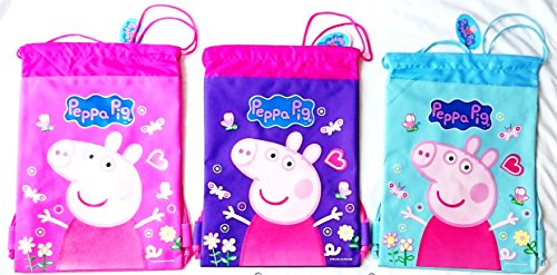 3 Peppa Pig Drawstring Backpack Cutest Child Sling Tote Gym Bag Pink Blue Purple
