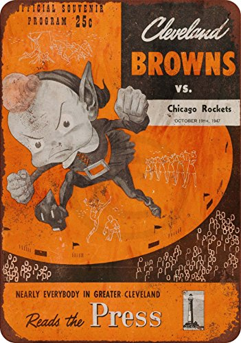 (1947 Cleveland Browns vs. Chicago Rockets Reproduction metal sign 8 x 12)