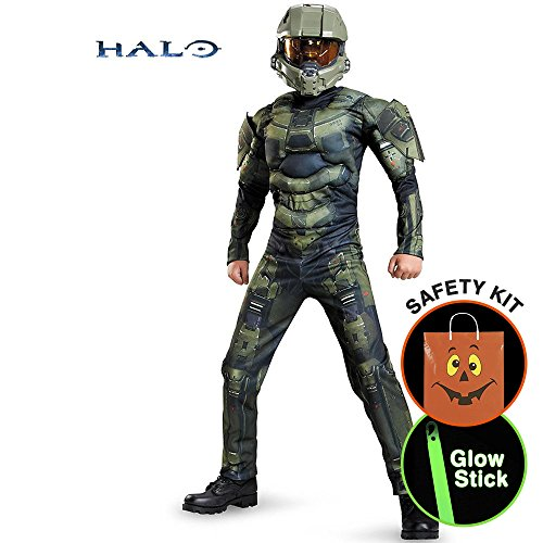 Boys Halo Master Chief Classic Muscle Ch Halloween Trick or Treat Safety Kit Large (Halo Master Chief Kids Costume)