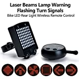 Cheap HK Rechargeable Bike Rear Tail Light, Wireless Laser Beams Bicycle Turn Signals Safety Warning 64 LED Light with Wireless Remote Control, Waterproof & Easy to Stall