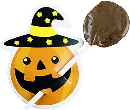 Febelle 50Pcs Tarjeta de decoraci/ón de dulces de Halloween DIY bricolaje Tarjetas de piruletas de fantasma de calabaza linda Regalo de Halloween