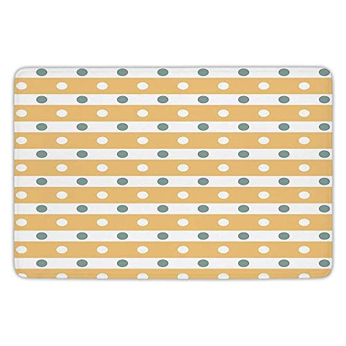 Findguage Bathroom Bath Rug Kitchen Floor Mat Carpet,Yellow and White,Horizontal Bold Stripes with Polka Dots Old Fashioned Tile,Almond Green Apricot