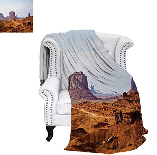 (Oversized Travel Throw Cover Blanket Monument Valley View from John Fords Point Merritt Butte Sandstone Image Super Soft Lightweight Blanket 80
