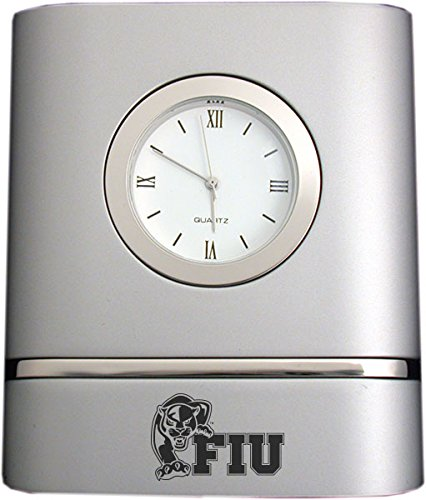 Florida Panthers Clock - Florida International University- Two-Toned Desk Clock -Silver