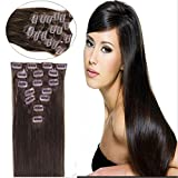 Straight Remy Human Hair Extensions 24 Colors for Your Choose in 15inch ,18inch ,20inch ,22inch ,Beauty Salon Women's Accessories (22inch 80g, #02 dark brown)