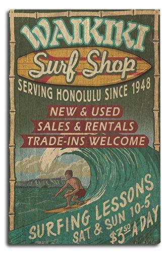 Lantern Press Waikiki Beach, Hawaii - Surf Shop Vintage Sign (10x15 Wood Wall Sign, Wall Decor Ready to Hang) ()