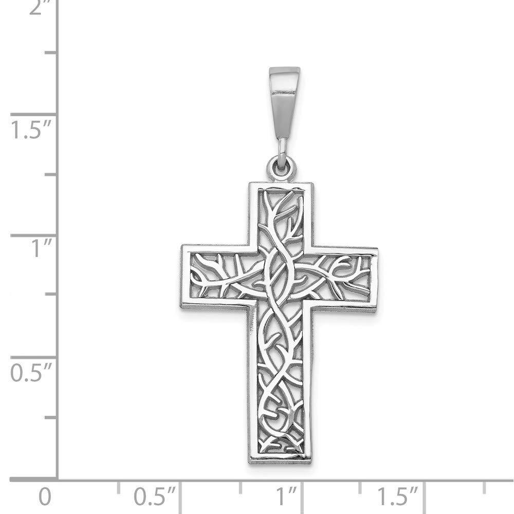14k White Gold Thorn Cross Pendant 36mm Length