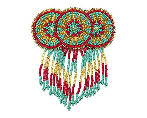 Multicolored Seed Bead Three Circle Native Star Mandala Beaded Fringe Dangle Handmade Hair Barrette French Clip Accessory (Red/Turquoise/Gold)
