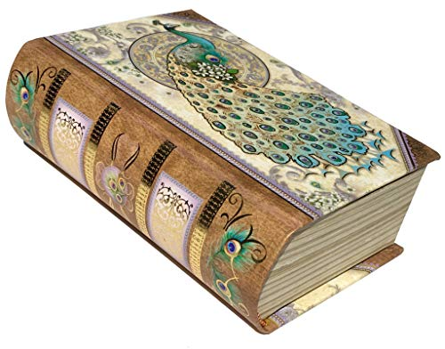 Punch Studio Ivory Peacock Embellished Book Box with Lavender Scented Luxurious 4 oz Soap,67366