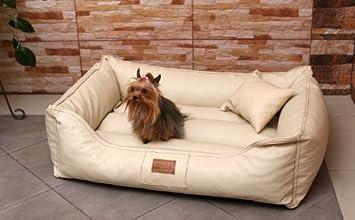 MA4-LL-05 Cama para perro Maddox CUERO ARTIFICIAL Sofá para perro Cuna para perro Talla L 100cm COLOR CREMA: Amazon.es: Productos para mascotas