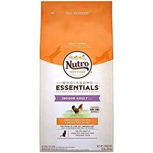 NUTRO WHOLESOME ESSENTIALS Indoor Adult Natural Dry Cat Food Farm-Raised Chicken & Brown Rice Recipe, 6.5 lb. Bag 77