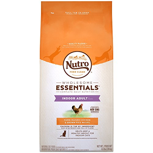 NUTRO WHOLESOME ESSENTIALS Indoor Adult Natural Dry Cat Food Farm-Raised Chicken & Brown Rice Recipe, 6.5 lb. Bag