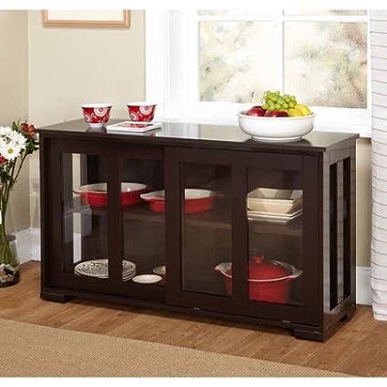 Amazon Home Furniture Shelf Indoor Wood Sliding Tempered Glass