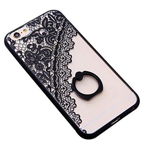 iPhone 6s Case, i-Dawn iPhone 6 6S Ultra Thin Clear Hard Acrylic Soft TPU Rubber Bumper Case Cover with 360 Degrees Rotating Portable Ring Stand for Apple iPhone 6/6S [Lace Flower Series] Black