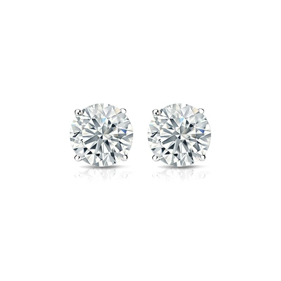 Diamond Wish 18k Gold Round Diamond Stud Earrings (1/4 2 cttw, H I Color, I1 I2 Clarity) 4 Prong Basket set with Screw Back