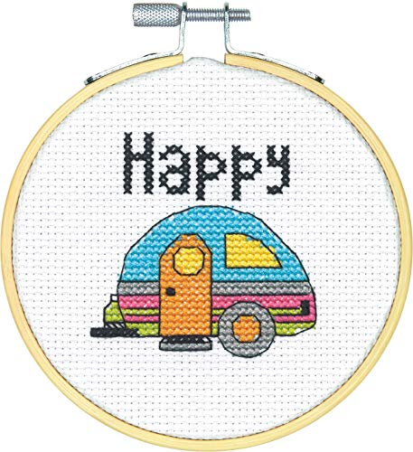 (Dimensions Mini Counted Cross Stitch Kit for Beginners, 'Happy Camper', 14 Count White Aida Cloth, 4'')