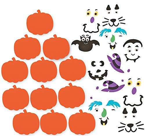 Halloween Arts And Crafts Pumpkin (Halloween Bulk Pumpkin Craft Set, 12 Jumbo 8 Inch Foam Pumpkins with 12 Foam Art Decorations Craft Kits, 6 Assorted Faces, Great Kids Party Favors Decoration for Boys and Girls)