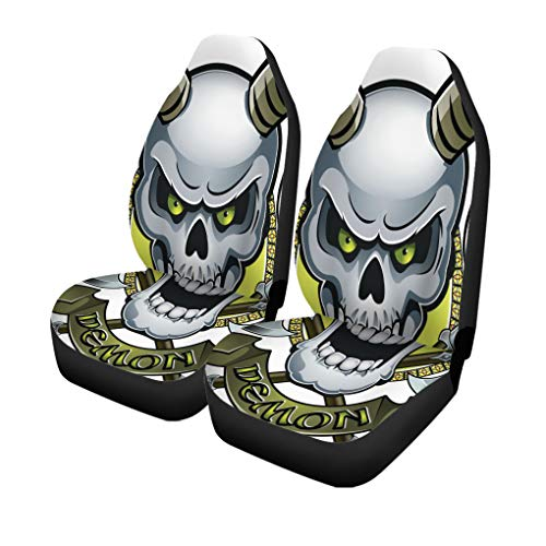 Semtomn Set of 2 Car Seat Covers Ancient Skull Horns Crossing Battle Axes and Text Demon Universal Auto Front Seats Protector Fits for Car,SUV Sedan,Truck