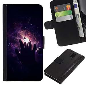 KingStore / Leather Etui en cuir / Samsung Galaxy Note 3 III / Espacio Mano