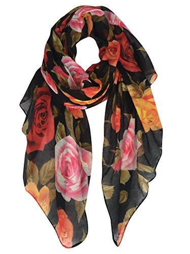 GERINLY Rose Blossom Print Scarf Womens Flower Shwal Wrap (Black)