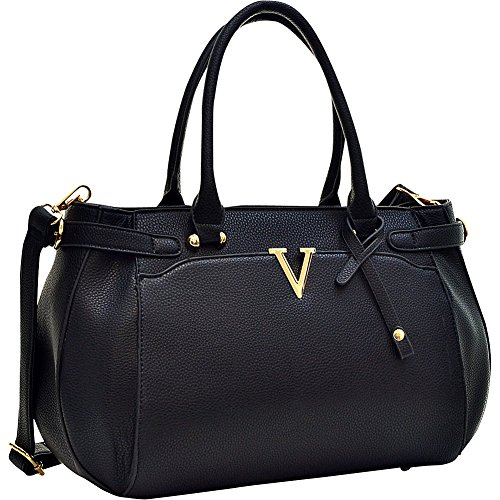 Dasein Patent Faux Leather V Shape Accent Satchel (Black)