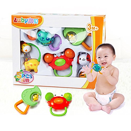5 Pcs Baby Rattle Teether Grasping Toys Gift Set Bells & Instruments for 0-1 Years Old Kids Shower