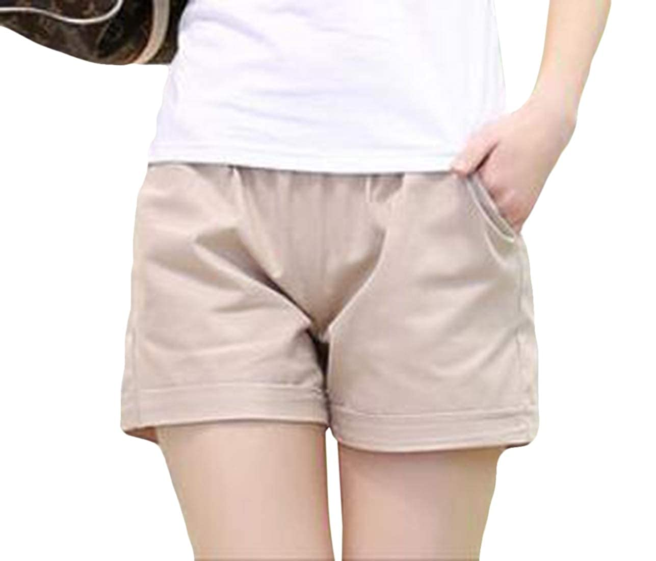 Gnao Womens Elastic Waist Wide Leg Large Size Loose Fit Athletic Casual Shorts