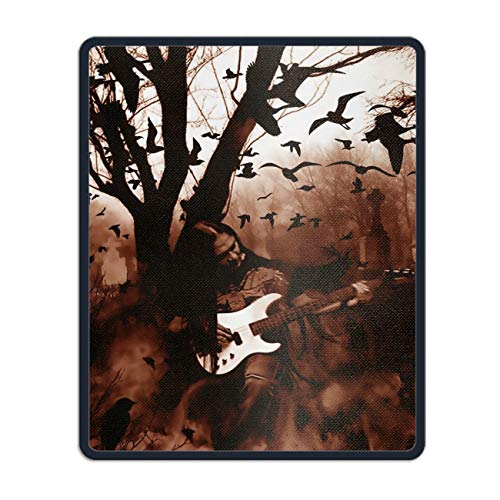 Mouse Pads Holiday Halloween Black Metal Heavy Guitar Creepy Spooky Graveyard Cemetery Theme Computer Mouse Mat- Stylish, Durable Office Accessory and Gift -