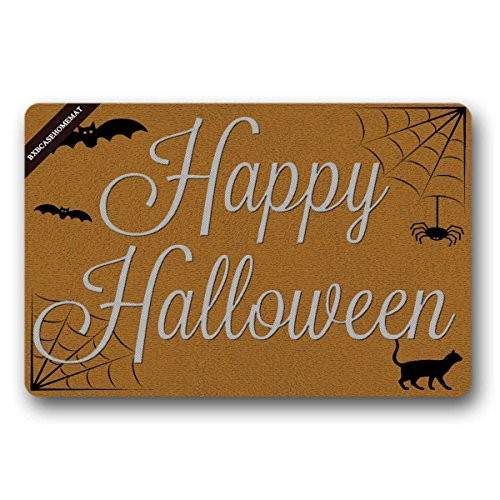 BXBCASEHOMEMAT happy halloween Welcome Doormat Decorative Quote Doormat For Front Porch 23.6(L) X15.7(W) -