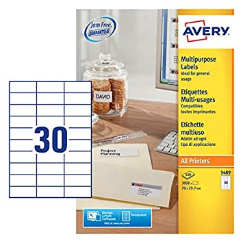 avery 3489 self adhesive multipurpose copier labels 30 labels per