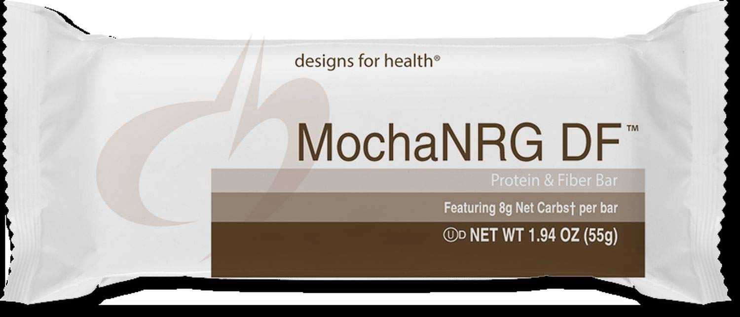 Designs for Health MochaNRG DF - Vegan-Friendly Rice Protein Fiber Bars in Mocha with 8 Net Carbs + 12 Grams Protein, Dairy-Free Energy Support Bar with Carnitine + CoQ10 (12 Bars)