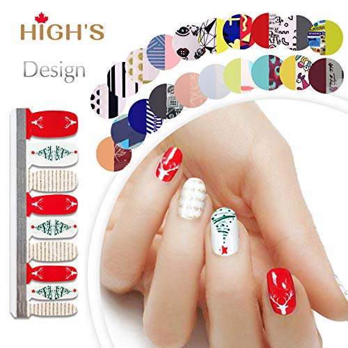 HIGH'S CHRISTMAS DESIGN EXTRE ADHESION Nail Wraps Decals Art Transfer Sticker Collection Manicure DIY Fullnail Polish patch Strips for Wedding, Party, Shopping, Travelling, 22pcs (Christmas Wishes) ()