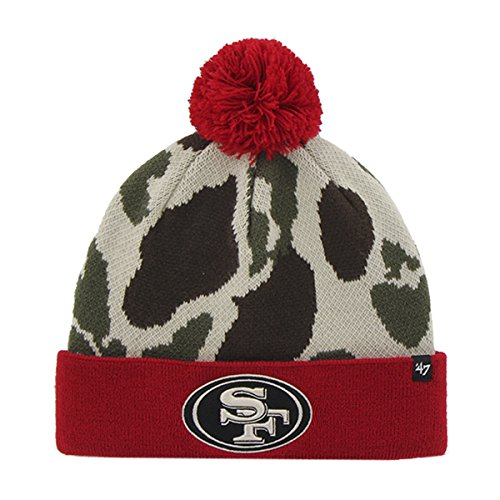 San Francisco 49ers NFL Football Natural Bushroot Knit Cuff Beanie Winter Hat (Foot Candlestick)