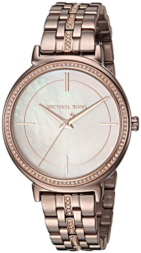 Color Crystal Links Gold Watch (Michael Kors Women's 'Cinthia' Quartz Stainless Steel Casual Watch, Color:Brown (Model: MK3737))
