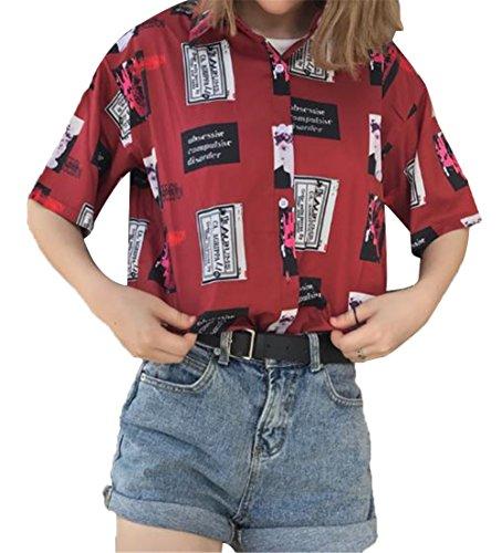 王子回復非難[ジャンーウェ]レディース 春夏 半袖 シャツ ゆったり プリント 学生 アロハシャツ おしゃれ