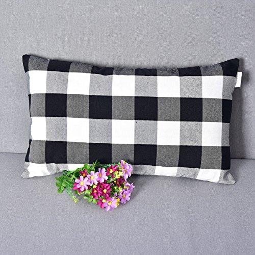 Black and White Classic Retro Checkers Plaids Linen Soild Decorative Throw Pillow Covers Home Decor Set Cushion Case for Sofa Bedroom Car 12 x 20 Inch