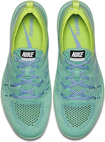 Nike Frauen Free Transform Flyknit Trainingsschuhe Grünes Glühen / Gletscher Blaues Volt