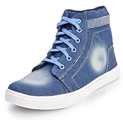 ebc04b25a4a Foot n Style Men s Blue Denim High Ankle Casual Shoes  Buy Online at Low  Prices in India - Amazon.in