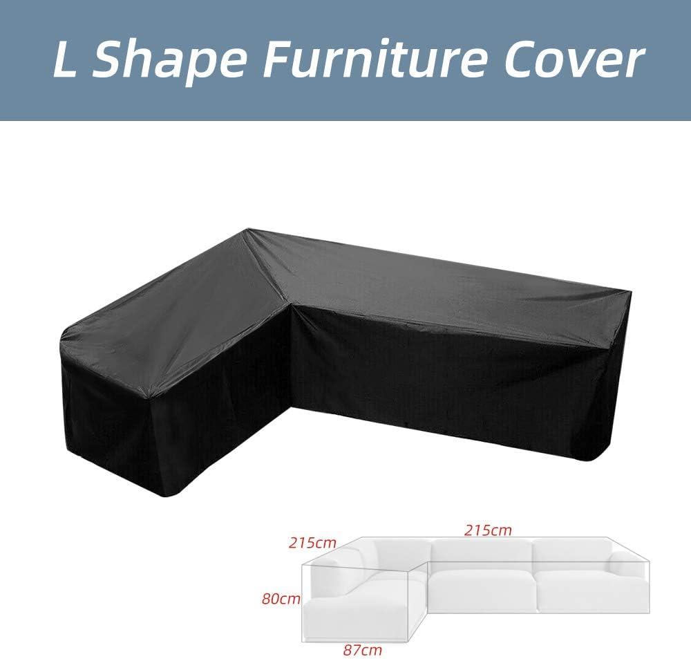 laamei' Fundas para Muebles de Jardín Cubierta Ptrotectora Impermeable del Sofá en Forma de L al Aire Libre Funda para Sofá de la Esquina Anti-UV a Prueba de Polvo de Paño de Oxford