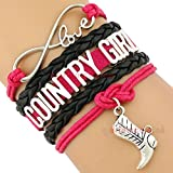 Country Girl Bracelet Multi strand Cowgirl Rodeo Western Hot Pink