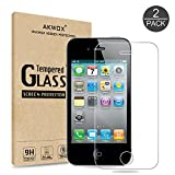 iphone 4 4s front screen - (Pack of 2) iPhone 4/4S Screen protector, Akwox Ultra thin 0.33mm HD Clear 9H Tempered Glass Screen Protector For iPhone 4/4S - Max Clarity And Touch Accuracy Film